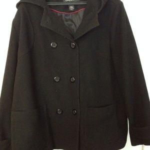 22/24 Lane Bryant 100% wool hooded black pea coat